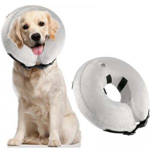 Inflatable Plush Protective Recovery Collar With Zipper