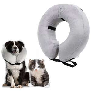 Inflatable Plush Protective Pet Recovery Collar With Zipper | Plush Grey