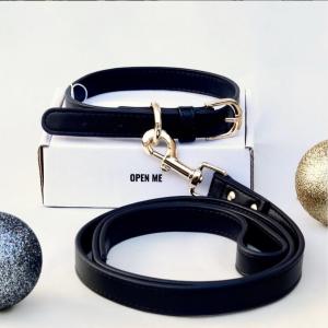 Monte & Co | Designer Black Pet Cat Dog Collar and Lead Set by St Argo