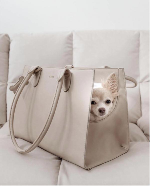 Monte & Co | The LOLA Beige Cream Travel Pet Dog Cat Carrier Hand Bag by St Argo Melbourne