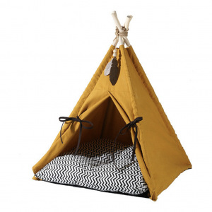 Monte & Co | Chic Mustard Yellow Teepee Pet Bed with cushion