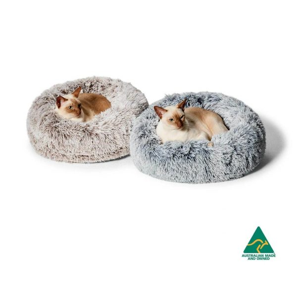 Monte & Co | Luxury Cat Bed Calming Cuddler in Silverfox grey & Mink | by Snooza Australia