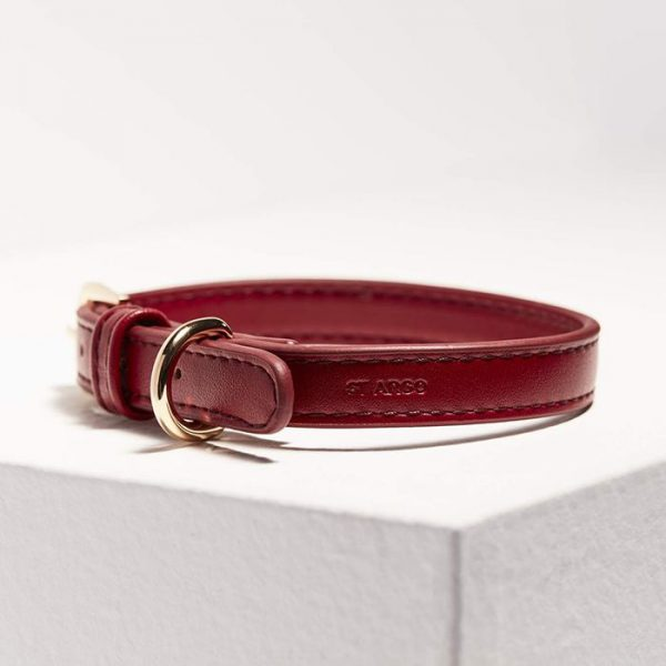 Monte & Co | Designer Pet Cat Dog Collar in Ruby Red Vegan Leather by St Argo
