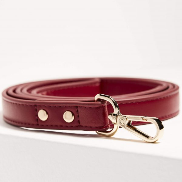 Monte & Co   Designer Vegan Leather Pet Dog Cat Leash Lead in Ruby Red   by St Argo Melbourne