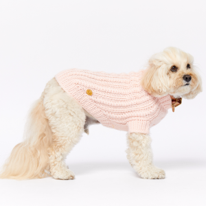 Monte & Co   Merino wool cable knit dog jumper sweater in Soft Pale Pink by Sebastian Says