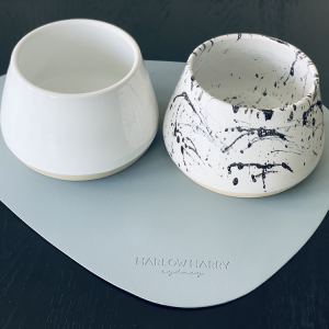 Monte & Co | Ceramic Long Eared Dog Bowls on Designer Feeding Placemat for dogs_pets | Benji & Moon & Harlow Harry