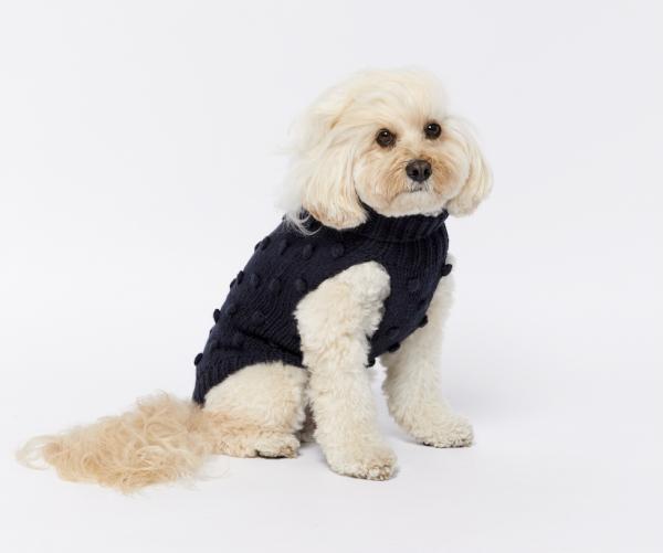 Monte & Co | Luxury Merino Wool Bobble Chunky Knit Sweater by Sebastian Says | Indigo Navy Blue