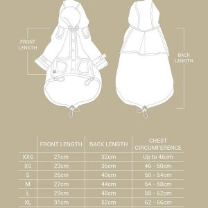 Monte & Co | Designer Raincoat Trench Coat for pet dog and cat by Sebastian Says | Size Chart