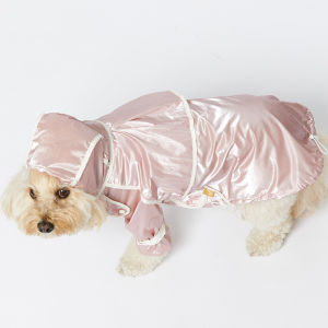 Monte & Co | Designer dog cat pet raincoat trench by Sebastian Says | Soft Pale Pink | Top Profile Lifestyle