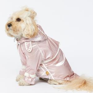 Monte & Co | Designer dog cat pet raincoat trench by Sebastian Says | Soft Pink | Side Profile Lifestyle