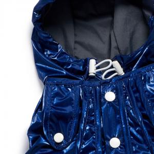 Monte & Co | Designer dog cat pet raincoat by Sebastian Says | Cobalt Blue | Hood_Neck Close Up