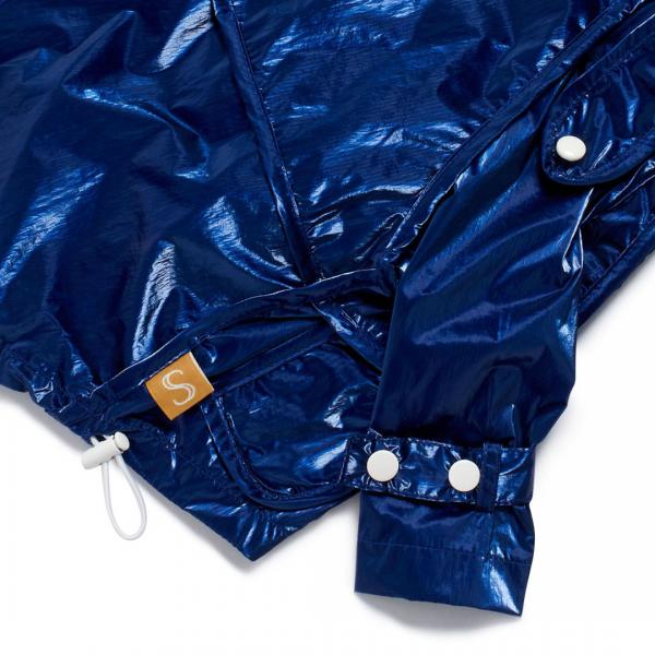 Monte & Co | Designer dog cat pet raincoat by Sebastian Says | Cobalt Blue | Sleeve_Hem Close Up