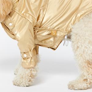Monte & Co | Designer dog cat pet raincoat by Sebastian Says | Gold trenchcoat (Side Close Up)