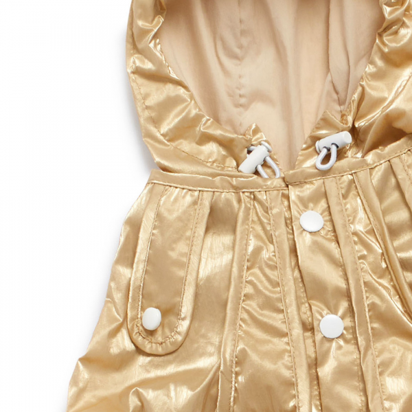 Monte & Co | Designer dog cat pet raincoat trench by Sebastian Says | Gold (Close Up Hood_Neck)