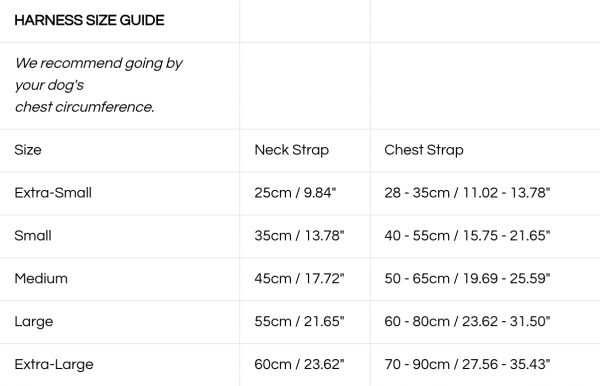 Monte & Co | Designer Pet Dog Cat Harness Size Guide by St Argo Melbourne